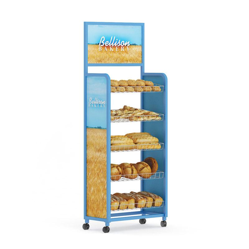 supermarket shelf breads 3d max