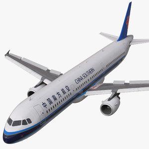 airbus a321 china southern 3d max