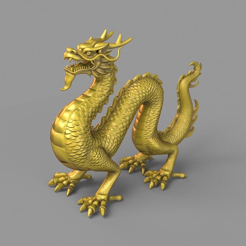 ancient dragon statue 3d obj