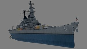 uss bb-61 class iowa 3d model