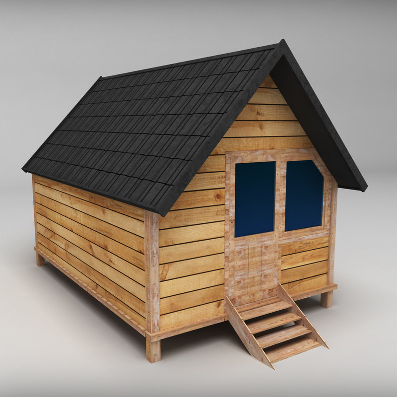 3d model small wooden house