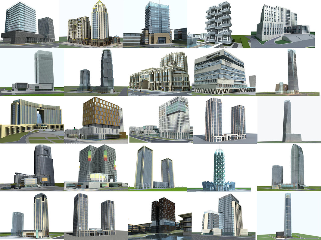 structures skyscrapers office buildings 3d max