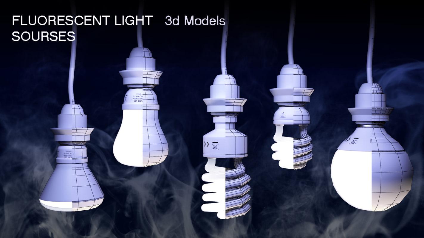 3d model fluorescent lights