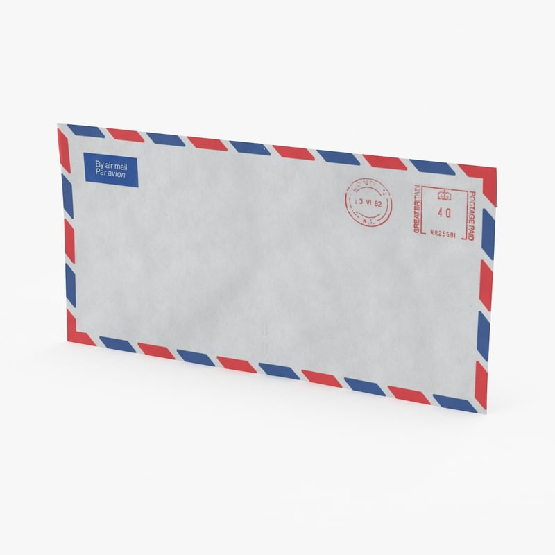 small air mail envelope 3d model