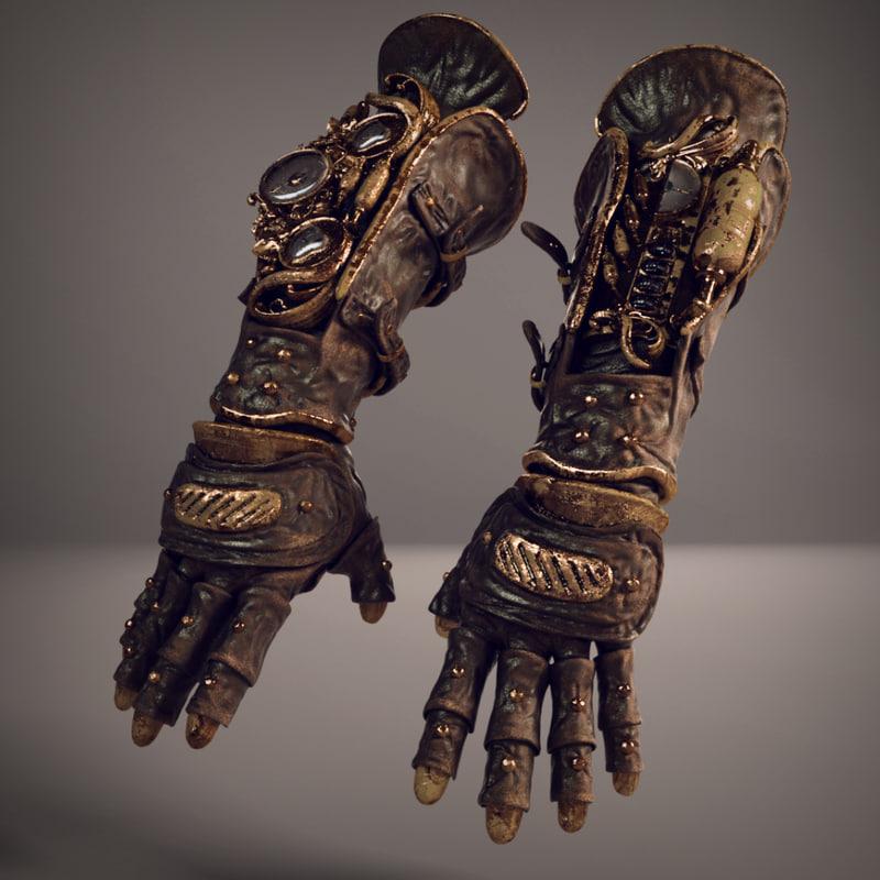 steampunk gloves 3d max