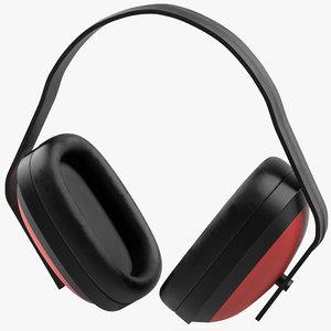 earmuffs red 3d model