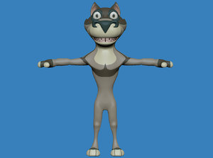 3d model of wolf cartoon