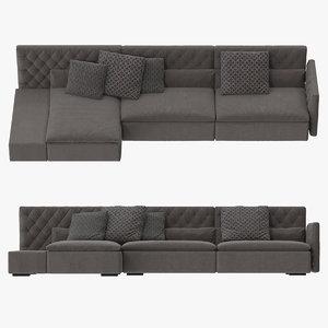 frigerio dominio capitonn sofa 3d model