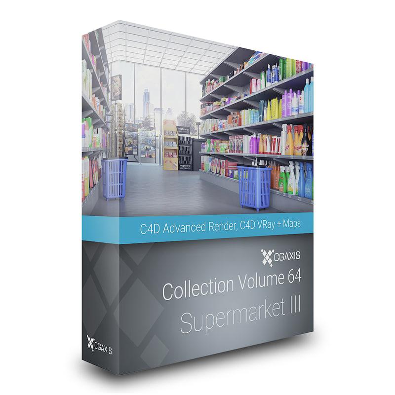 3d volume 64 supermarket market model