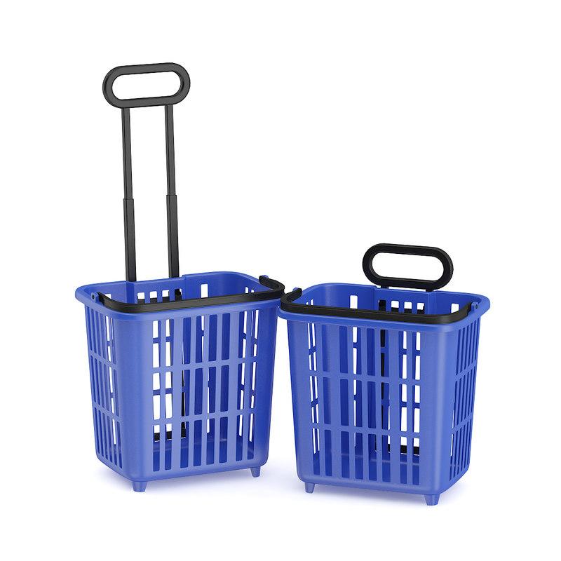 blue shopping baskets 3d obj