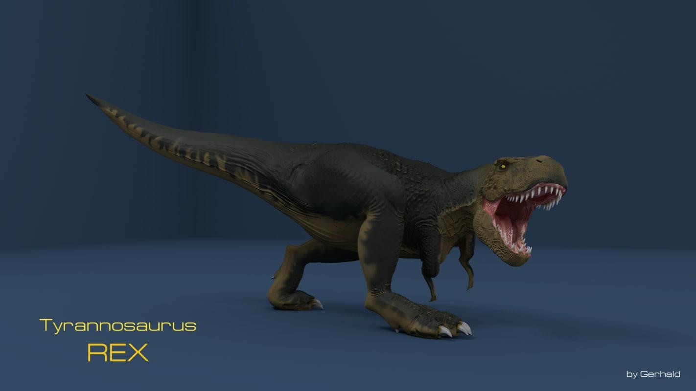 tyrannosaurus rex t-rex blender 3d model