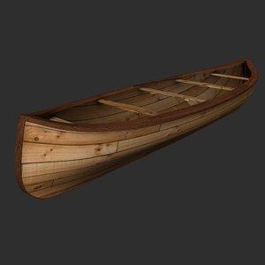 3d model wood canoe