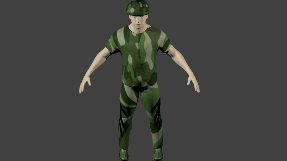 3d model soldier animate