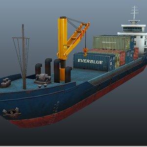 3d cargo ship - model