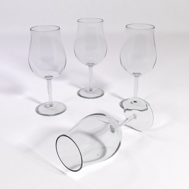 3d burgundi red wine glass model
