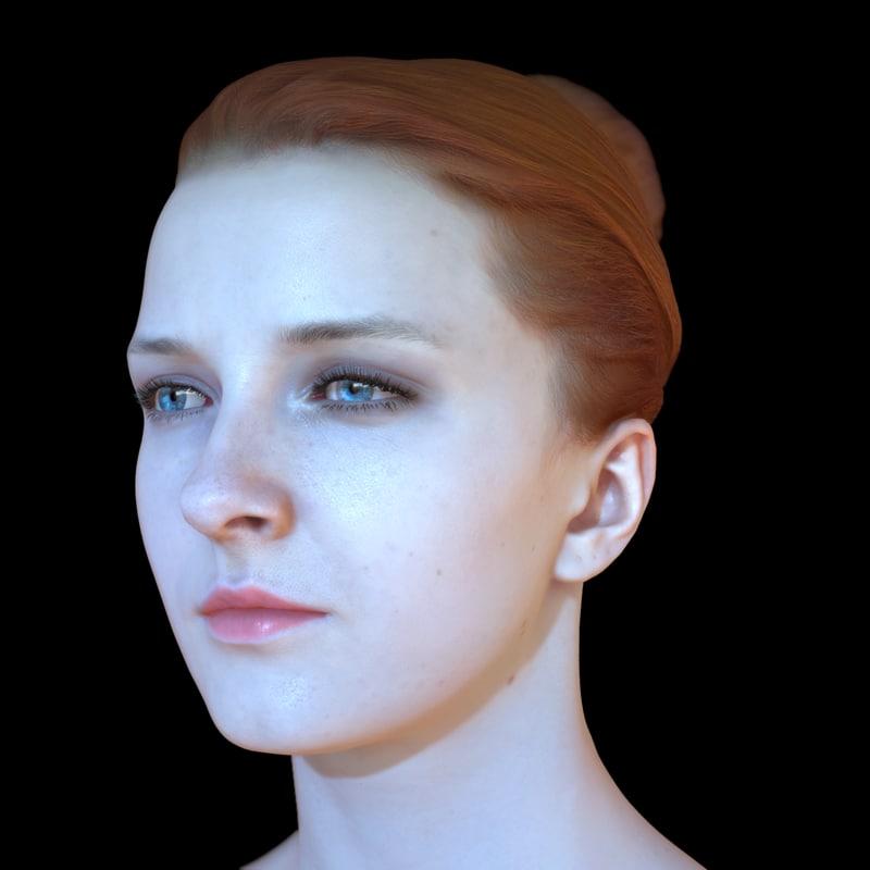 3d realistic female head olga