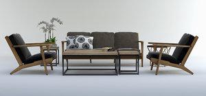 3d brooks chair set 01