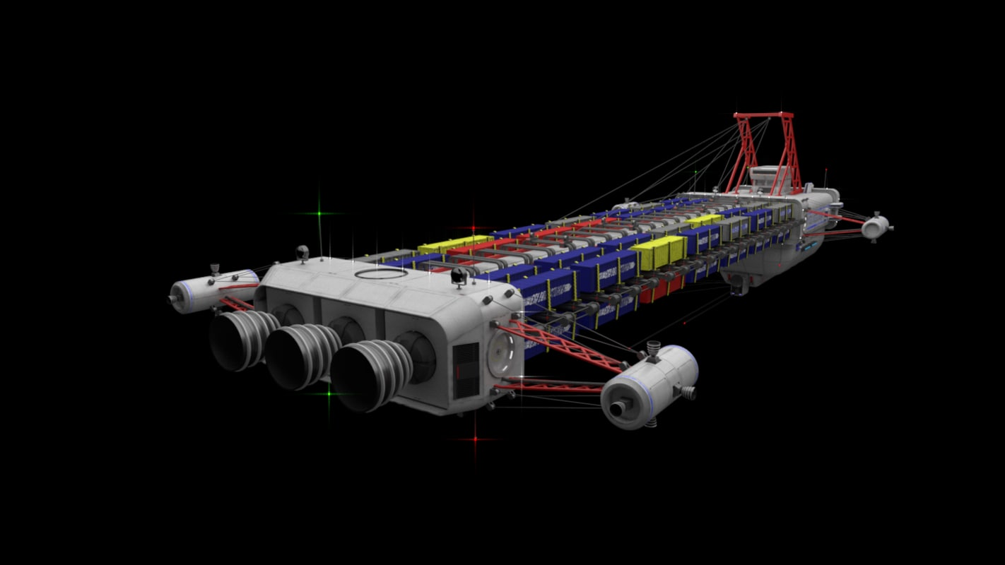 3d heavy cargo freighter model