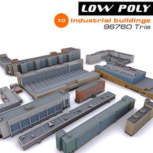 10 industrial buildings 3d model