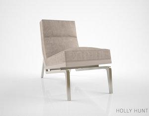 3d model holly hunt flea lounge chair