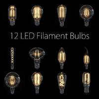 3d 12 led filament bulbs model