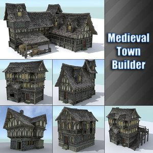 3d model pack medieval town houses