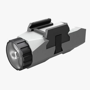 3d model pistol flashlight generic