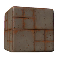 Concrete Blocks with Orange Grime