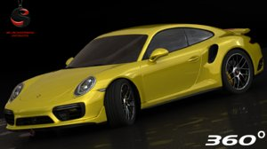 3d realistic porsche 911 turbo model