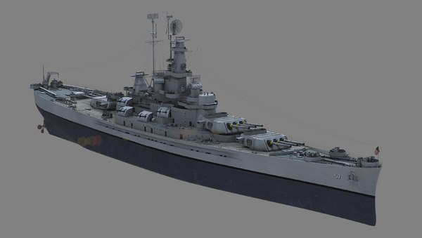 uss bb-57 south dakota 3d model