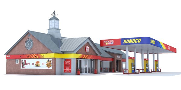 sunoco gas station 3d model
