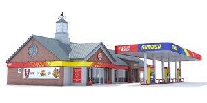 sunoco gas station 3d model