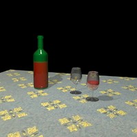 3d table bottle glasses model