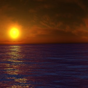 3d sunset water sea