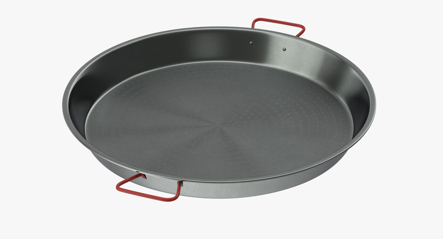 3d model carbon steel paella pan