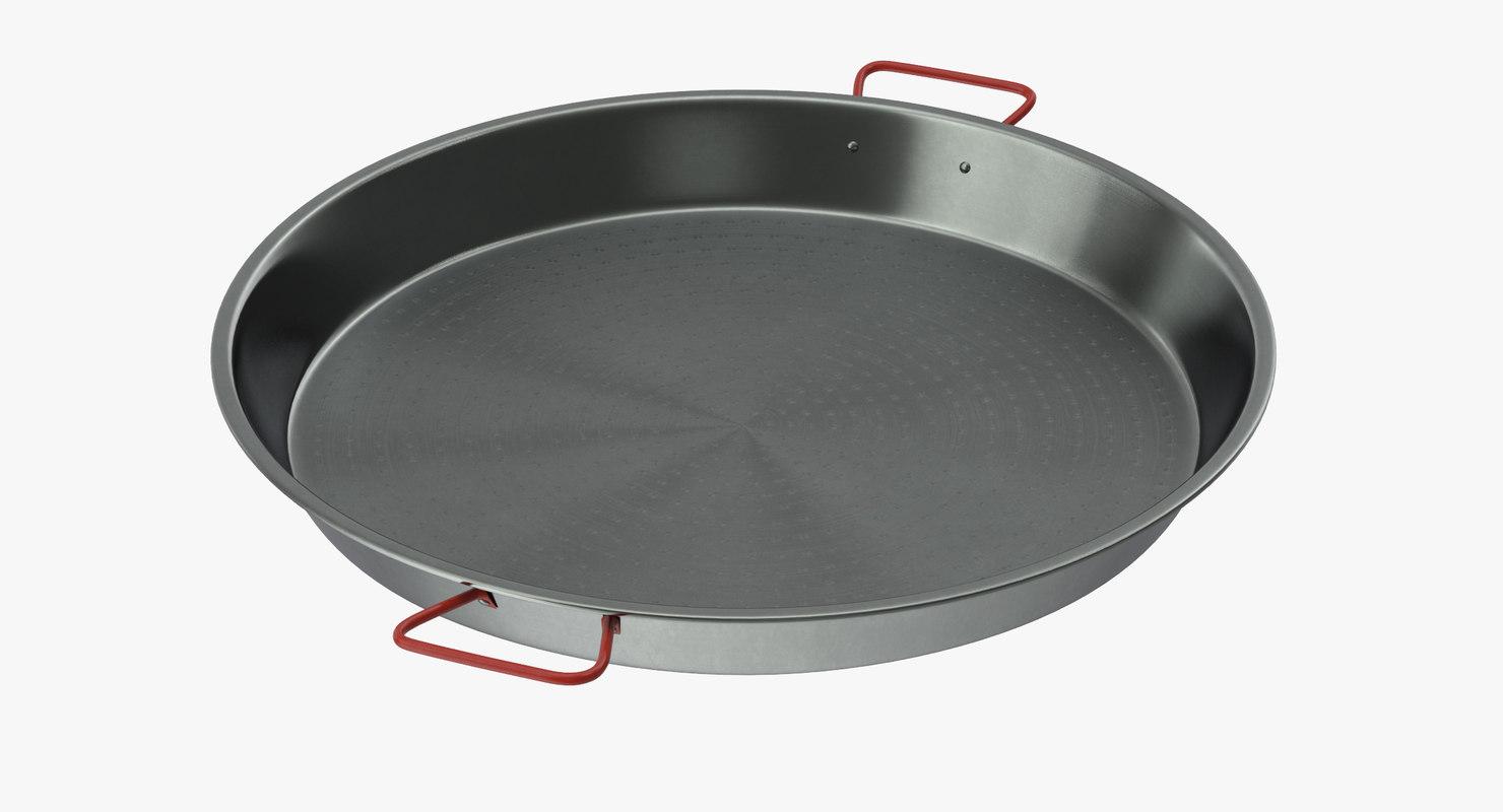 3d model carbon steel paella pan