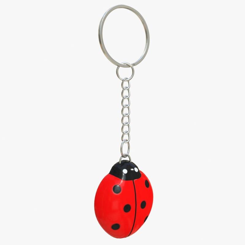 3d keychain ladybird
