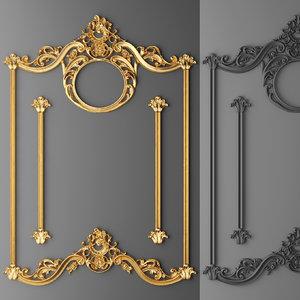 3d stucco decor frame model