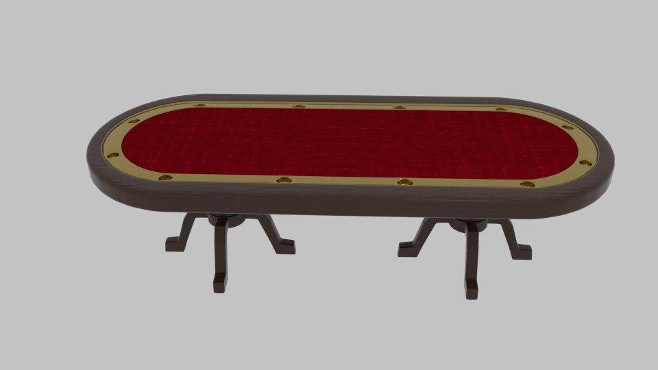 3d model long poker table