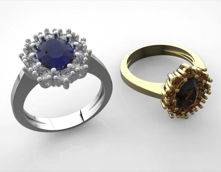 oval ring stones diamond 3d model