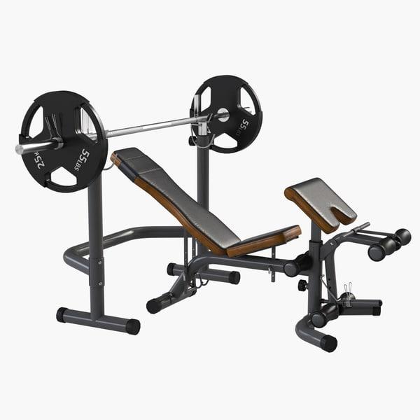 3d model gym equipment bench press