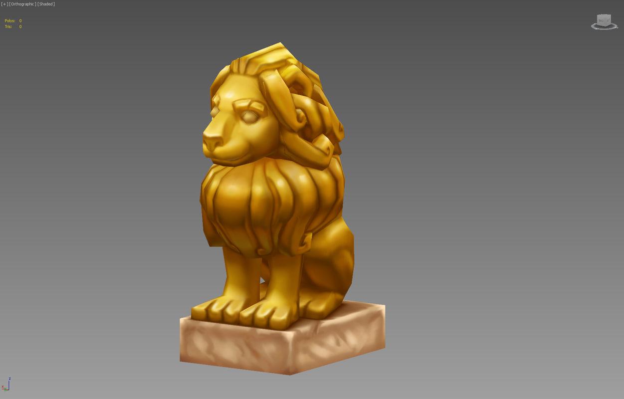 3d lion statue