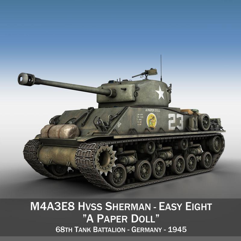 m4a3e8 sherman - paper 3d c4d