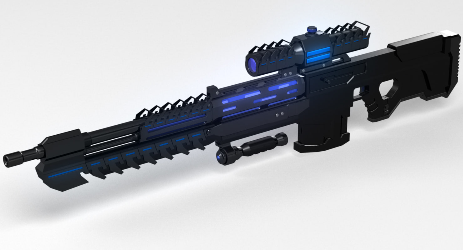 free conceptual sci fi sniper rifle 3d model