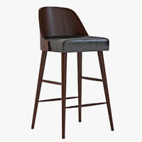 West Elm Bentwood Leather Barstool