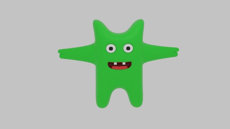 3d mini green monster model