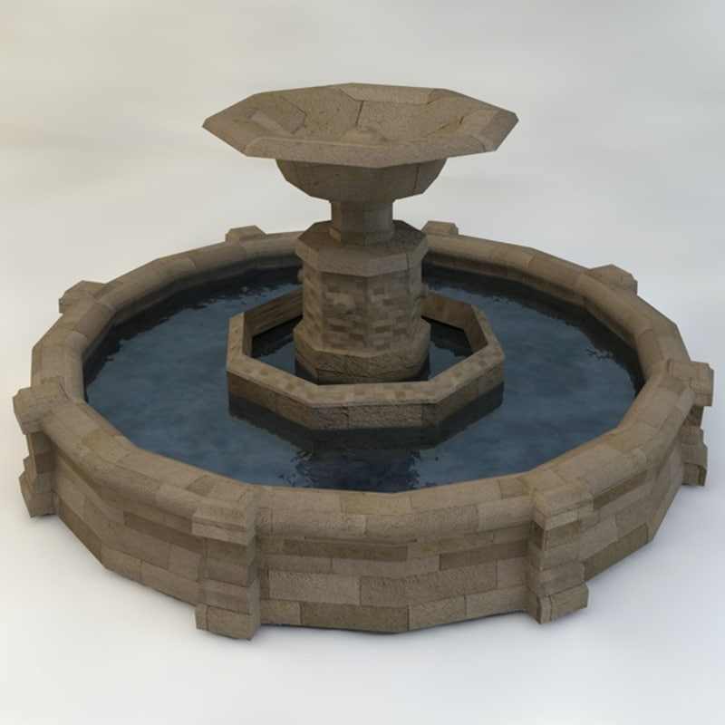 3d fountain low-poly model
