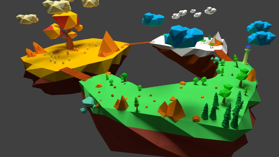 3d low-poly flying trees