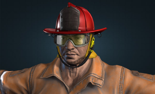 3d firefighter character modeled