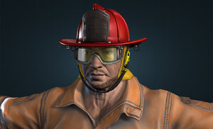 3d firefighter character modeled